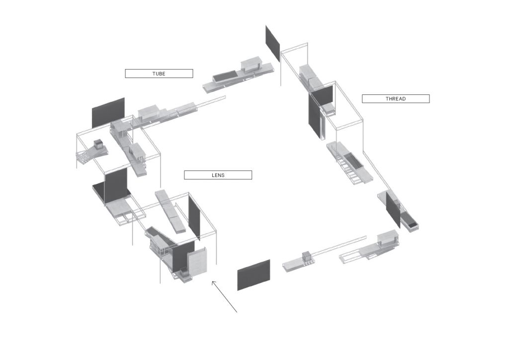 Axonometric drawing of exhibition design and routing. Koehorst in 't Veld.